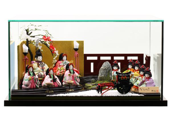 ひととえ雛人形花 -はな- 十人飾 ジオラマ池 ガラスケースセット